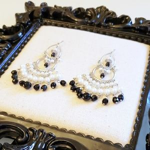 WHBM Pearl and Black Crystal Chandelier Earrings